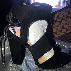 Suede Peep Toe Elastic Lace Up Block Heel Sandal